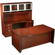 "This attractive 71"" curved Workstation offers quality materials, functionality and an affordable price.  * Desk: 71 inches wide x 36-42 inches deep x 29.5 inches high * Credenza: 71 inches wide x 24 inches deep x 29.5 inches high * Hutch with Glass Doors * Box/Box/File File/File Pedestals * Durable Laminate Finish  Availability: 1 Color(s) Available Pricing: $1149.99  For more Visit: http://sd-office.com/i-7443653-boss-curve-series-bow-front-work-station.html"