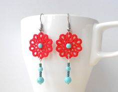 Red  tatted lace earrings floral turquoise beads by SILHUETTE, could be done in crochet