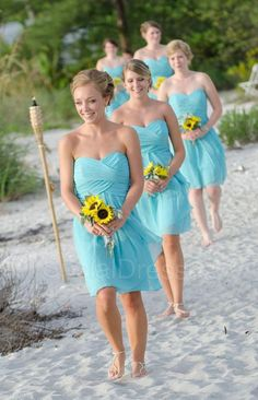 Flowing Blue Beach Bridesmaid Dress #bridesmaid