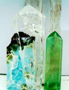 Larimar, Clear Quartz, Green Fluroite