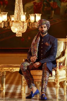 Midnight Blue Raw Silk Wedding Sherwani-SH329