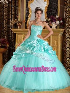 Taffeta and Tulle Beaded Floor-length Dresses for Quince in Baby Blue