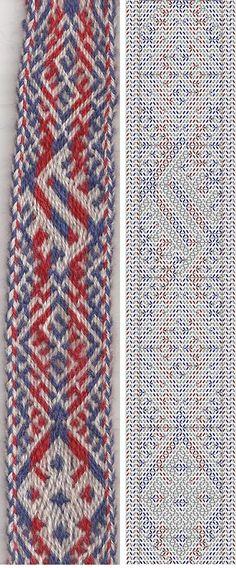 Warp: Red, white and blue wool (fibreholics) Weft: blue wool (the original was a plant fibre) Pattern: Humikkala broken twill. Inkle Weaving, Inkle Loom, Card Weaving, Weaving Art, Basket Weaving, Tablet Weaving Patterns, Plant Fibres, Card Patterns, Blue Wool