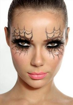 Create cobwebs over your eyes with grey, black and white eyeliner!