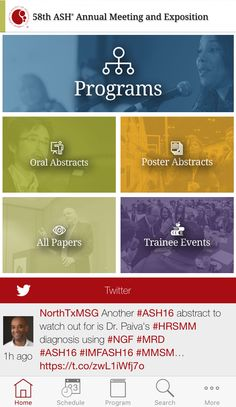 Creative customized event app home screen for ASH EventPilot is the only conference app designed specifically for medical and scientific meetings.
