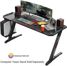 Beautiful EUREKA ERGONOMIC Z60 Gaming Desk 60'' Z Shaped Large PC Computer Gaming Desks Tables with RGB LED Lights Controller Stand and Mouse Pad for E-Sport Racing Gamer Pro Home Office Gift Furniture. [$341.99] the108ideashits from top store