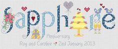 Sapphire Anniversary Cross Stitch Kit £18.95 | Past Impressions | Nia