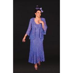 Ann Balon Carolina Dress and Jacket In Fiordaliso