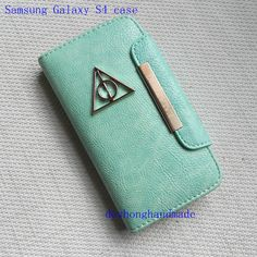 Samsung Galaxy S4 I9500 case, Harry potter deathly hallows Mint green leatherette wallet case Samsung Galaxy S4 case via Etsy
