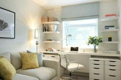 Clever Storage Ideas For Your Spare Room - Forbes With the TV on the west wall, this would be perfect. Time to recycle the trundle! Home office, office decor, decor, Home Office design Trendy Home, Room Layout, Home, Bedroom Office Combo, Home Office Design, Cozy Home Office, Cozy House, Office Design, Small Room Design