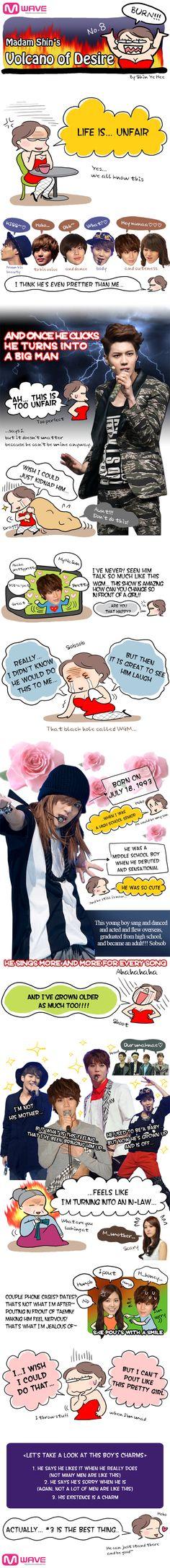 http://mwave.interest.me/mcartoon/view.m?seq=8 Madam Shin's Volcano of Desire - TaeMin | Mwave Hilarious comic expressing an admiration to the maknae
