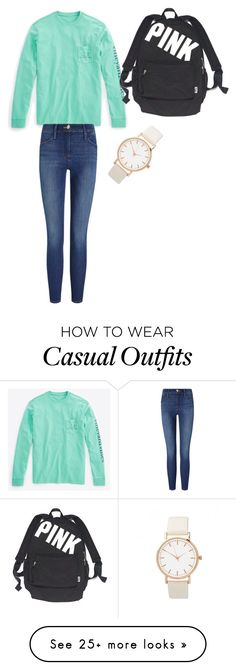 """Green day casual"" by dezhetchler on Polyvore featuring Vineyard Vines, Frame Denim and Victoria's Secret"
