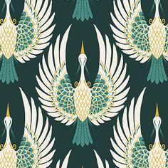 Green Art Deco Crane Bird Pattern Wallpaper | Hovia UK