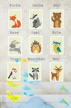 Kinderzimmerdekoration - Kinderzimmer Bilder Waldtiere SET 4er Fuchs Igel - ein Designerstück von quietschegruen bei DaWanda