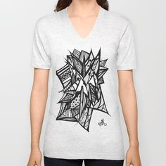 Abstract Black and White Unisex V-Neck by Josée Lennon  - $24.00