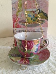 Latest product Cup And Saucer Bird Feeder for sale on - http://shabbychicemporium.com/product/cup-and-saucer-bird-feeder/