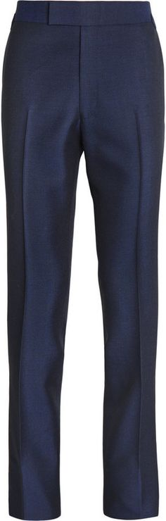 $795, Kingsman Navy Slim Fit Wool And Mohair Blend Tuxedo Trousers. Sold by MR PORTER. Click for more info: https://lookastic.com/men/shop_items/328794/redirect