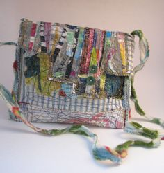 Handmade upcycled art bag.  Boho style. Vintage buttons & fabric.  Cross the body.  Sold. Fabric Bags, Fabric Sewing, Scrap Fabric, Fabric Scraps, Painted Bags, Painted Shoes, Tote Purse, Clutch Bag, Tote Bags