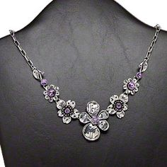 """Necklace, Chinese rhinestones and antiqued silver-finished steel and """"pewter"""" (zinc-based alloy), purple, 18x18mm-44x33mm graduated flowers, 18-inch oval cable chain with 3-inch extender chain and lobster claw clasp. Sold individually."""
