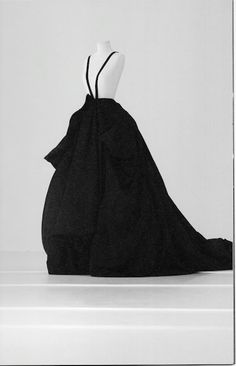 Yohji Yamamoto FW 1995 long evening dress in black silk - via