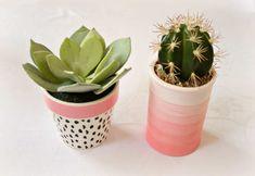 DIY Ombre Blumentopf in Rosa