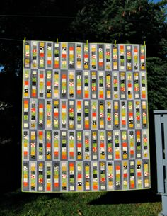 """Roller Rink Quilt using a Comma (by Zen Chic) jelly roll - the pattern is in Elizabeth Hartman's book """"Modern Patchwork"""" 