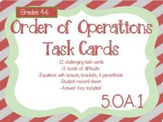This set of 12 order of operations task cards will help your students improve their math skills. Use these Christmas theme task cards in a math center, students who finish early, guided practice, review, stations, or for whole group review. These task cards were created using the Common Core Standards and the Gwinnett County AKS.