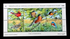 12th Annual National Audubon Society Wild Life Conservation Stamp Block 1996