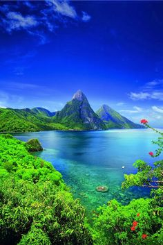 The crystal blue water in St. Lucia