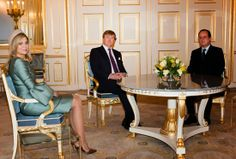 20 JANUARY 2014 President François Hollande of France visited  King Willem-Alexander and Queen Maxima at Palace Noordeinde in The Hague.