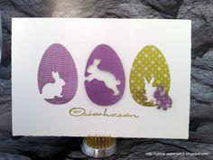handmade Easter card ... trio of die cut eggs with negative space die cut bunnies ...