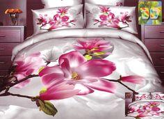Realistyczna pościel w kolorze szarym z różową orchideą