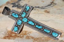 VINTAGE SIGNED HUGE 5 INCH TALL NAVAJO STERLING SILVER & TURQUOISE CROSS PENDANT