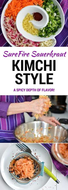 This Kimchi style sauerkraut recipe is fun to make with its many flavors. Korean red pepper powder adds heat with ginger and garlic in the background. Making Sauerkraut, Fermented Sauerkraut, Sauerkraut Recipes, Fermented Foods, Kimchi Recipe, Korean Food, Korean Recipes, Vietnamese Food, Pepper Powder