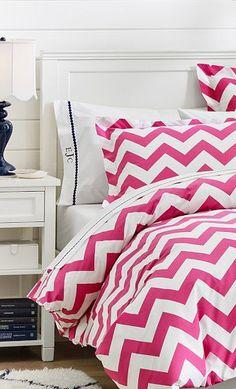 #Pink #chevron bedding http://rstyle.me/n/f2fngnyg6