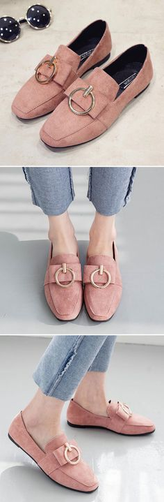 US$13.21 Metal Decoration Suede Pure Color Square Toe Flat Loafers