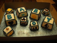 1st Baby Shower Cake, I've gotten paid to make!! Block themed- hope it's a hit!