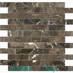 Emperador Polished Brick - A luxurious polished Emperador Marble Brick Mosaic in a Brick Bond design on a mesh netting, suitable for walls. inc VAT per Sheet - (Individual tile size is - Sheets per Sqm: