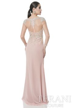Crystal+beaded+mother+of+the+bride+gown+with+sheer+illusion+sleeves.+A+floor+length+chiffon+skirt+and+a+thigh+high+slit+finish+this+special+occasion+dress.