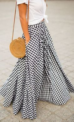 gingham maxi skirt. Midi & Maxi Dresses, dress, clothe, women's fashion, outfit inspiration, pretty clothes, shoes, bags and accessories