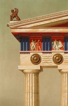 Ancient Greek Doric Temple from 1870 AD. Temples were painted so with bright reds and blues that contrasted the white of the building stones. You can also see the metopes and the triglyphs in the frieze.