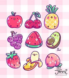 Fruit Wallpaper Kawaii 59 Ideas For 2019 - Fruit - Everything with Fruit - Fruit Fruits Kawaii, Griffonnages Kawaii, Arte Do Kawaii, Cute Food Drawings, Cute Animal Drawings Kawaii, Cute Kawaii Animals, Illustration Kawaii, Illustration Mignonne, Kawaii Doodles