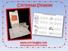 Christmas syllable activity for preschool & kinder via www.pre-kpages.com