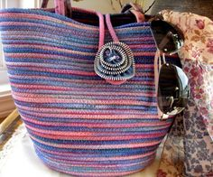Hand Painted Coiled Rope Tote with Zipper Brooch. $75.00, via Etsy.