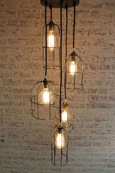 Cage Light Chandelier. 5 Drop in two finishes. Industrial style lighting - Fat Shack Vintage - Fat Shack Vintage
