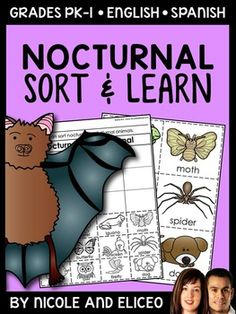 This nocturnal animal sort pack downloads in English plus a FREE Spanish version and includes  vocabulary cards, individual and group sorting activities, graphic organizers, coloring sheet, word builder, drawing sheet and more! This resource was designed to teach young learners about nocturnal animals using interactive activities.