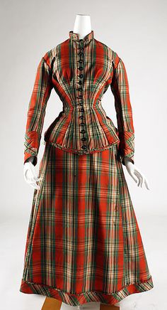 Plaid wool dress (front), American, 1873-76.