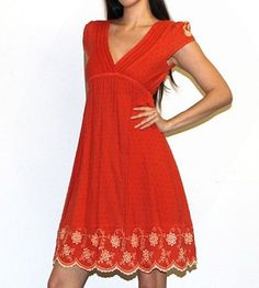 New VTG Boho ORANGE FLORAL LACE Embroidered Doily Babydoll Sun mini Dress S