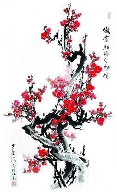 Ideas japan art design painting for 2019 Japanese Tattoo Art, Japanese Painting, Chinese Painting Flowers, Cherry Blossom Painting, Cherry Blossoms, Japon Illustration, Botanical Illustration, Samurai Artwork, Samurai Art