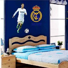 Real madrid design wall deacl home decor cartoon wall sticker for kids room Wall Decals For Bedroom, Nursery Wall Stickers, Vinyl Wall Stickers, Real Madrid, Vinyl Decor, Kids Bedroom Boys, Kids Room, Bedroom Posters, Bedroom Themes